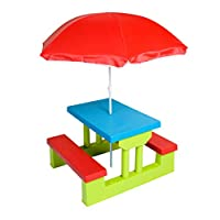 Class Four Seater Kids Picnic Table with Folding Umbrella, Garden Yard, Children Outdoor Bench - CLDN009