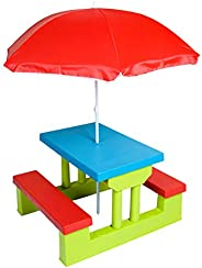 Class Four Seater Kids Picnic Table with Folding Umbrella, Garden Yard, Children Outdoor Bench, Perfect gift f