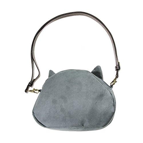 FakeFace Damen 3D Katzenkopf Schultertasche Crossbody Bag Henkeltasche Handtasche Damentasche Handytasche mit Katze Aufdruck für Wandern Außflug Shopping (Blaue Augen) Gelbe Augen