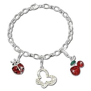 SilberDream Charms Armband Glitzerset – Natur – Swarovski Elements 925 Sterling Silber Charm Armband und Anhänger – FCA141