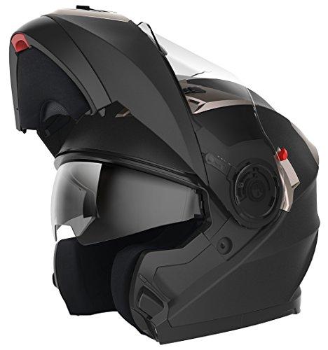 YEMA Casco Moto Modular ECE Homologado YM-925 Casco de Moto Integral Scooter para Mujer Hombre Adultos con Doble Visera-Negro Mate-S