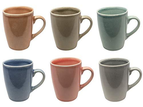 MC Trend 6er Set Kaffeebecher - 6 wunderbare harmonische Farben 350 ml Porzellan-Tassen-Geschirr Kantine Küche zu Hause 350 ml (6er Set ORANGE-Taupe-Gruen-BLAU-Rose-GRAU)