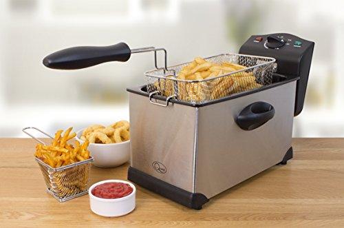 41SmiFPVbRL - Quest 35140 Stainless Steel Deep Fat Fryer, 3 Litre, 2000W, 40x18x25cm, Silver