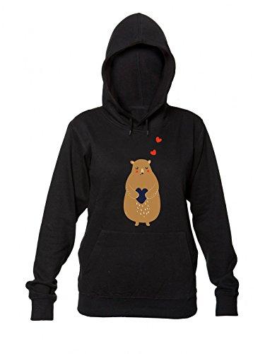 Cute Drawing of A Bear Holding Heart Kapuzenpulli für Damen XX-Large