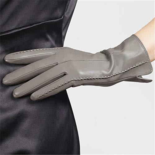 CCMOO Elegante Frauen Echtes Lammfell Lederhandschuhe Herbst Und Winter Thermische Hot Trendy Weibliche Handschuh-hellgrau, L (Hot Biker Kostüm)
