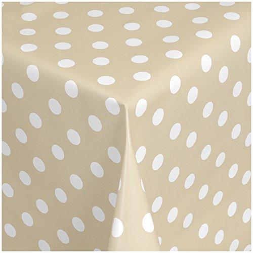 Wachstischdecke Gartentischdecke Abwaschbar nach Wunschmaß PUNKTE Creme-Weiss ( 150-04 ) - 200 x 140 cm