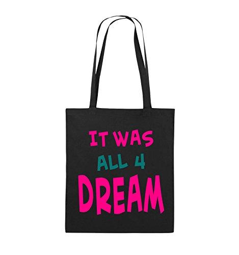 Comedy Bags - It was all four dream - KLEINE ZAHL - Jutebeutel - lange Henkel - 38x42cm - Farbe: Schwarz / Weiss-Neongrün Schwarz / Pink-Türkis