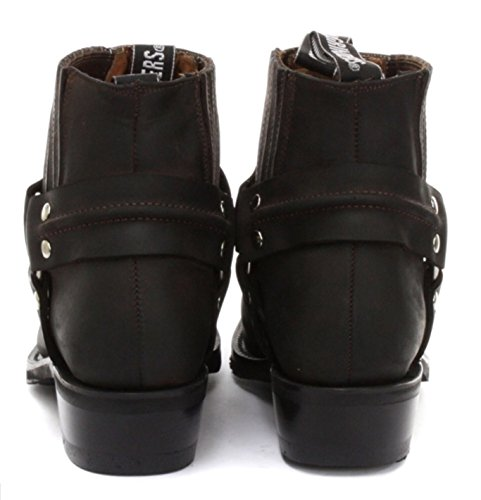 Grinders Herren Klassische Cowboy Stiefel aus echtem Leder Renegade Lo stilvolle Look Braun