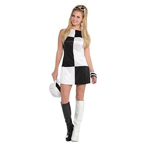 60s Mod Girl (Mod Girl Ladies Fancy Dress Swinging 60s Go Black & White Womens Adults Costume (Medium UK 10-12 (Europe 38-40)))