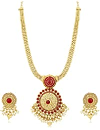 PALASH AMAZING GOLD PLATED DESIGNER LONG NECKLACE SET WITH PERAL BEADS