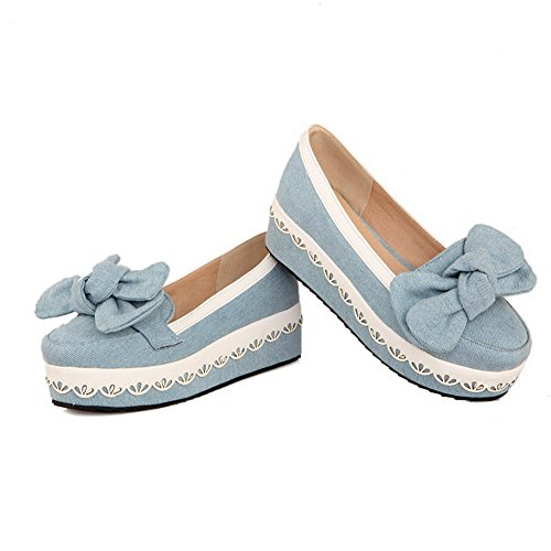 AllhqFashion Femme Rond Fermeture D'Orteil Tire En Tissu Couleurs Mélangées Chaussures Légeres Bleu Clair