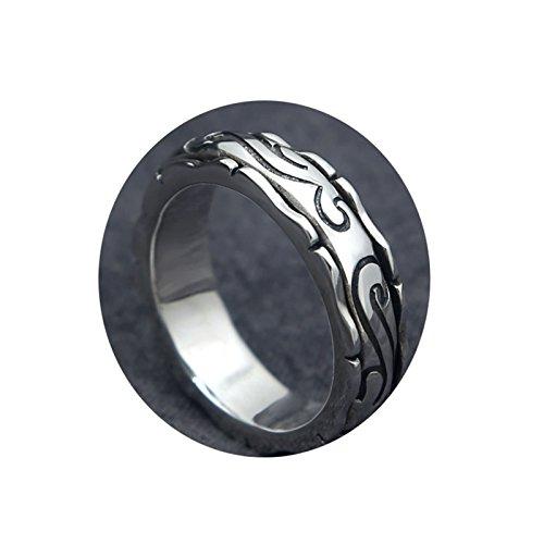 Epinki 925 Silber Herren Ringe Rund Antiallergen Herrenringe Silberring Silber Schwarz Gr.65 (20.7)