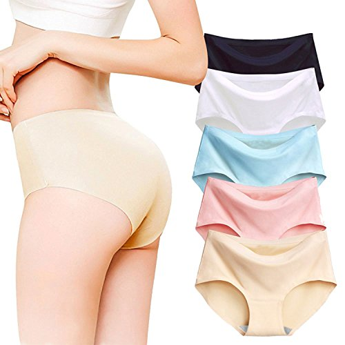 Imixcity 5 Pack Women's Silk No-Show Thong Invisible Seamless Brief Panties