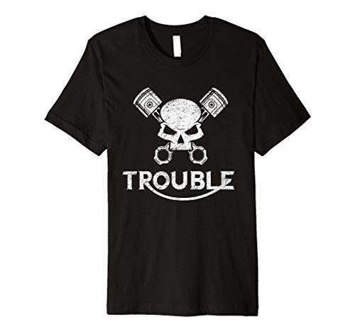 Motorrad Totenkopf und Kolben Trouble T Shirt für Gear Köpfe