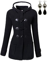 M-Queen Femme Manteaux à Capuche Gilet Bouton épais Blouson Hiver Hoodie Veste Jacket Casual Outwear Coat Fleece Manteau