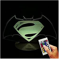 Batman vs Superman Deko lámpara Logo (3d de discapacitados Illusion)