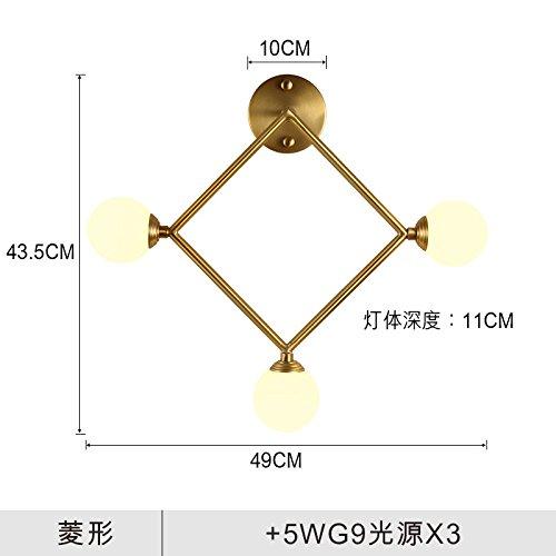 YU-K Die Wand lampe Schlafzimmer Nachttischlampe Wand Wohnzimmer Wand Lampeminimalistischer WandWandvoll Kupfer drei goldene Lichter, die ideen, TreppeWandWandn, Diamant - Golden-kupfer-3 Licht