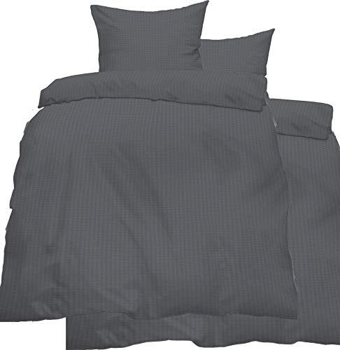 4-tlg. Seersucker Bettwäsche 2x 135x200 + 2x 80x80 cm, uni einfarbig, grau, Reissverschluß, bügelfrei, Microfaser (60287)