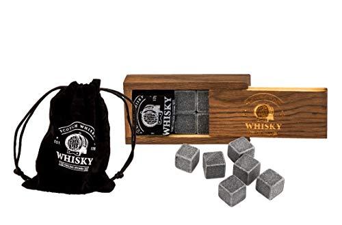 BigDean Whisky Steine Set 6 Wiederverwendbare Kühlwürfel aus Speckstein in Basalt-Optik mit Samtbeutel und hochwertiger Holzbox Geschmacksneutral