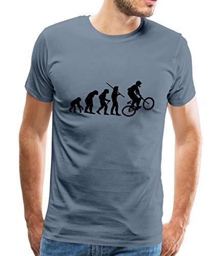 Spreadshirt Evolution Mountainbike Männer Premium T-Shirt, L, Blaugrau