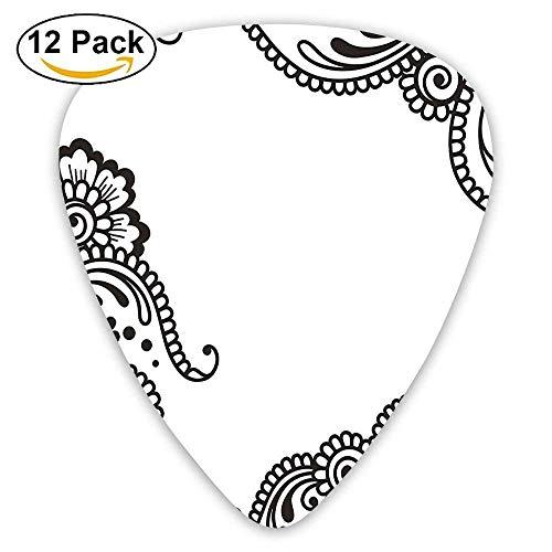 Embellished Flower Pattern With Traditional Arabesque Eastern Effects Boho Design Guitar Picks 12/Pack Arabesque Flower