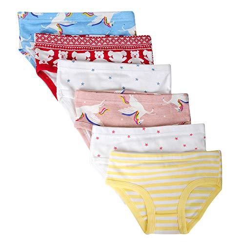 Kidear Bequeme Baumwollene Gemischte Kinder-Unterhosen für Kleine Mädschen. (Eine Packung von 6 Stücke) (Stil10, 5-6 Jahre)