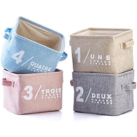 qseven Organizer Cesti originale Lino e tessuto scatole portaoggetti con gestione Ear su entrambi i lati piccole dimensioni per tavolo Storage 20,3x 17,8x 15,2cm-Set di 4 Group1-Pink+Grey+Beige+Blue