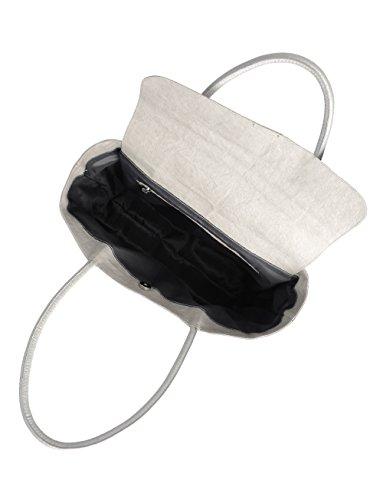 PAPLEBAG Damen Shopper Schultertasche federleicht aus waschbarem Papier in Lederoptik (8455) (Stone hellgrau) Stone hellgrau