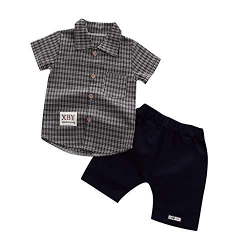 JUTOO Kleinkind Baby Boy Gentleman Plaid Kurzarmhemd + Denim Shorts Sets Kleidung (Kaffee 1,120)