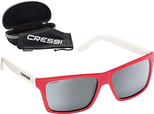 Cressi Rio Sunglasses Sport Sonnenbrille Linsen polarisiert und Antireflexion Sorgen für 100% igen Schutz vor UV-Strahlen, Rot Weiß/Spiegel, Einheitsgröße