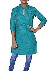Para mujer 100% algodón indio blusa superior de la manga corta ocasional sueltos -s camiseta