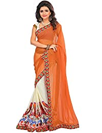Sarees For Women Party Wear Designer Today Best Offer Sale Buy Online In Low Price Sale Orange Color Goergette...