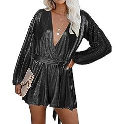 YOINS Femme Combinaison Brillant Manches Longues Col V Jumpsuit Sexy Pantalon Playsuit Courte Combishort Ceinture,Brillant-noir,S