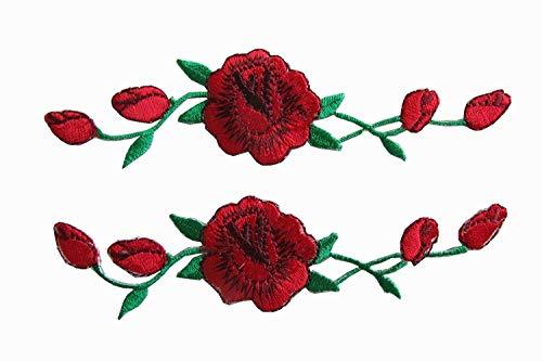 Woohome Flicken Patches, 2 Stück Floral Rose Aufbügeln Flower Aufnäher Patches zum Basteln, Nähen, Bekleidung, Andere Stoffe -