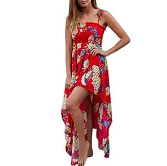 Maxi Kleider Sommerkleid Sommer Damen Frauen Cocktail Party Kurzarm Blumendruck