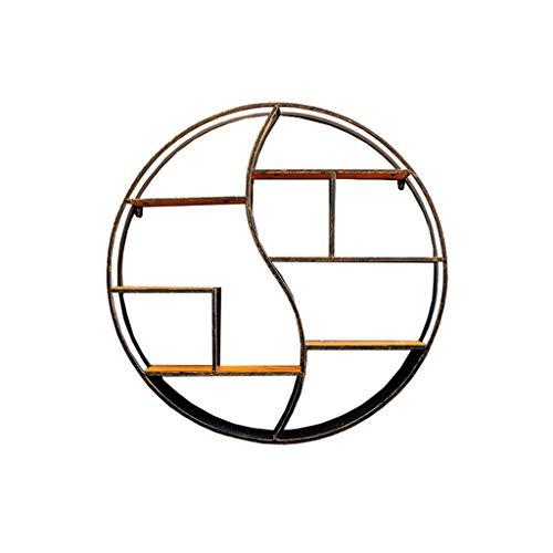 HSHELF-Möbel Multifunktionale Wandregale LOFT Runde Wandregal Holz und Eisen Metall Material für Wohnzimmer Schlafzimmer verwendet für Bücherregal Lagerung Display (größe : Diameter 80.5cm) -