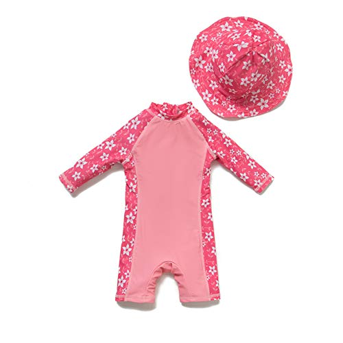 Baby Girl Ein stück 3/4 der ärmellänge UV-Schutz 50+ Badeanzug MIT Einem Reißverschluss(PINK-Blumen,9-12M)