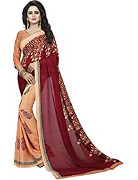 Varibha ORANGE & RED Printed Silk Saree / Sari For Women Or Girl | Sarees New Latest Collection 2017 | Today Best...
