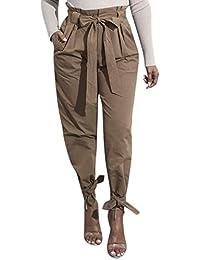 BIRAN-55 Hosen Damen Frühling Herbst Freizeithose Unifarben Bowknot Bandage  Schöne Mit Taschen Mit Gürtel Plissee Slim Fit High Waist… 536903f48f