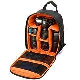 POUYBIE Professioneller Kameratasche SLR/DSLR Taschen Kamera Tasche wasserdichte Tasche mit gepolsterten Trennwansd Rucksack für Camping Reise Sport Reisen (orange)