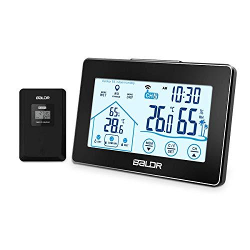 Osaloe Wetterstation, Digitale Wetterstation Funk mit 100m Wireless Außensensor Innen- und Außen Thermometer Hygrometer mit Touchscreen, Hintergrundbeleuchtung, Wettervorhersage, Uhrzeitanzeige