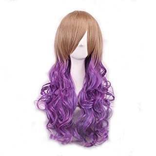 Womens Ladies Girls 70cm Harajuku Purple Gradient High Quality Japanese Style Anime Hair Carve Cosplay Costume Anime Party Bangs Full Sexy Wigs