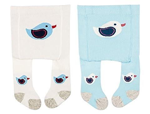 Vitasox 26020 Baby Erstlingsstrumpfhose Babystrumpfhose für Neugeborene Mädchen Jungen 0-2 Monate 1xhellblau 1xwollweiß