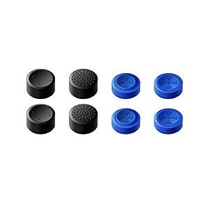 GameSir PS4 Controller Daumengriffe, Analog Stick Joystick Bedeckungs-Skins für PS4 / Slim/Pro Controller, Abdeckung für Sticks von Gaming-Gamepads – Blau & Schwarz Set (4 Paar Insgesamt)