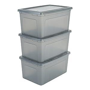 IRIS, 3er-Set Aufbewahrungsboxen / Kisten mit Deckel / Stapelboxen 'Modular Clear Box', MCB-50, Kunststoff, transparentes Grau, 50 L, 59,5 x 39,5 x 29 cm