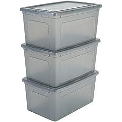 Iris 3er-Set Aufbewahrungsboxen/Kisten mit Deckel/Stapelboxen 'Modular Clear Box', MCB-50, Kunststoff, transparentes Grau, 50 L, 59,5 x 39,5 x 29 cm