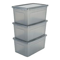IRIS, 3er-Set Aufbewahrungsboxen / Kisten mit Deckel / Stapelboxen'Modular Clear Box', MCB-50, Kunststoff, transparentes Grau, 50 L, 59,5 x 39,5 x 29 cm