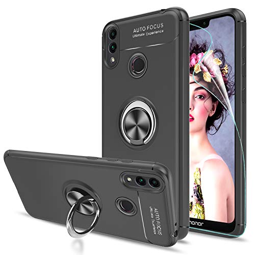 LeYi Hülle Huawei Honor 10 Lite Handyhülle mit HD Folie Schutzfolie,Cover TPU Bumper 360 Grad Ring Stand Magnetische Schutzhülle für Case Huawei Honor 10 Lite Handy Hüllen JSZH Schwarz