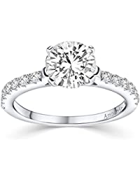 Verlobungsringe mit Zirkonia Stein Silber Damen 925 + LUXUSETUI! Verlobungsring Heiratsantrag Idee Antrag Hochzeit Idee Silberring Ring Zirkonia wie Diamant-Ring Damenring AM289 SS925ZIFAZIFA