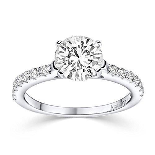 Verlobungsring Ring Damen Silber 925 von AMOONIC Zirkonia Stein mit GRAVUR & ETUI-BOX Silberring Frau Verlobungsringe Damenring rhodiniert Echt Schmuck Antragsring AM289 SS925ZIFAZIFA56